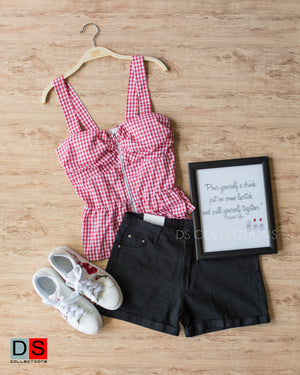 Women's Top - Gingham Spaghetti Zip-Up Tops | DS Collections Nepal