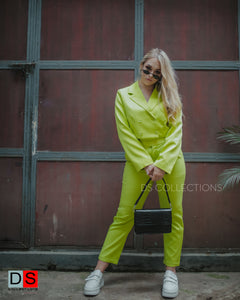Neon Lime Crop Blazer And Pant Set