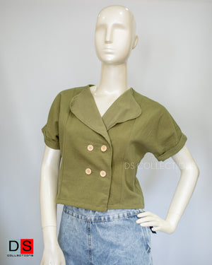 Women's Top -  Khaki Button Up Tops  | DS Collections Nepal