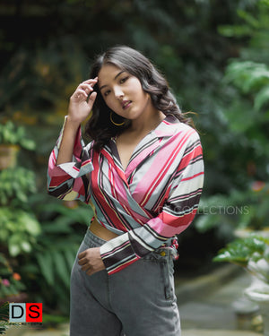 Women's Top - Stripe Bow-Tie Top| DS Collections Nepal