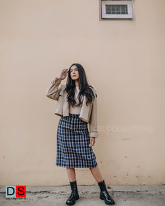 Woolen Plaid Midi Skirt