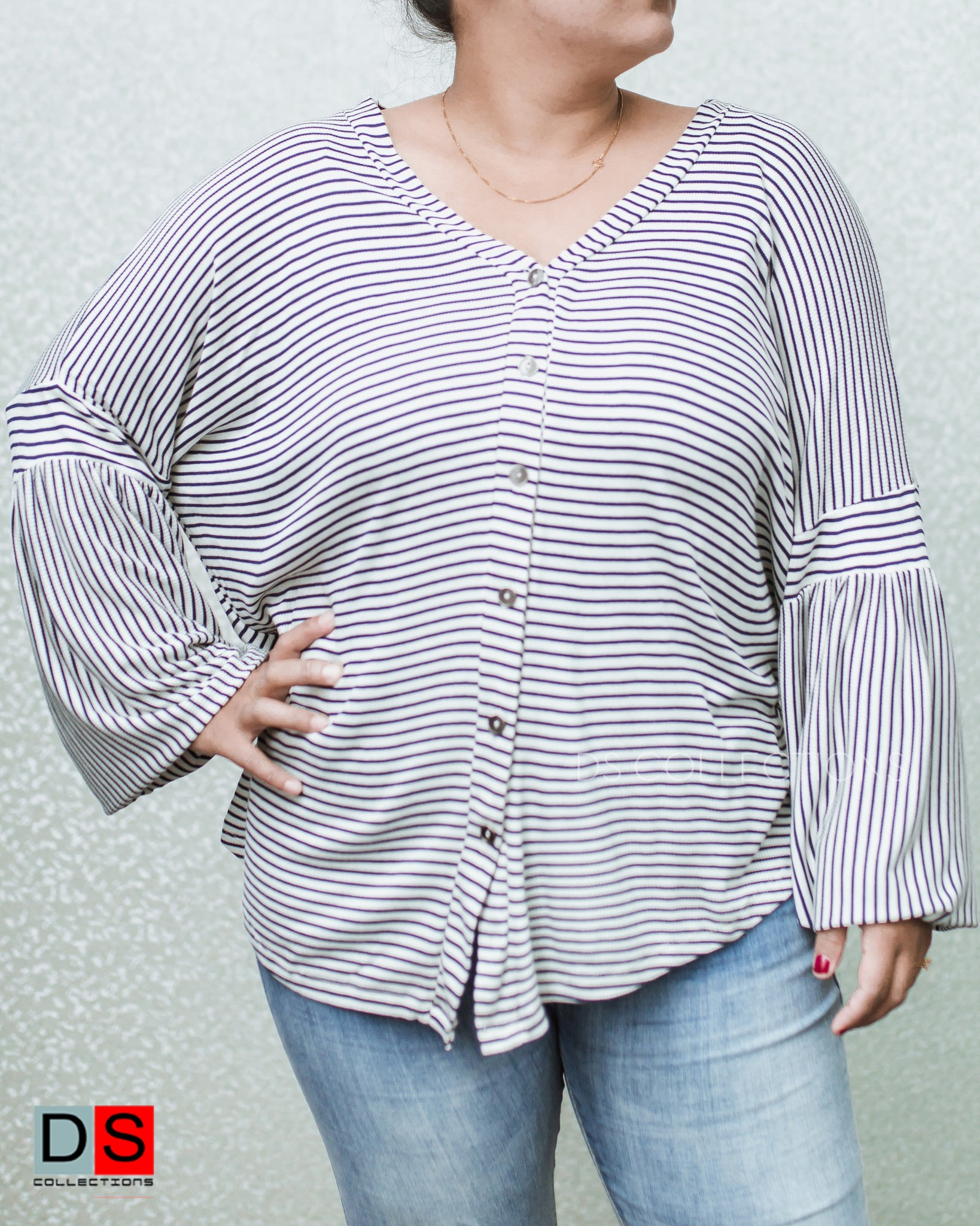 Women's Top -Stripe Button-Up Balloon Sleeve Top | DS Collections Nepal