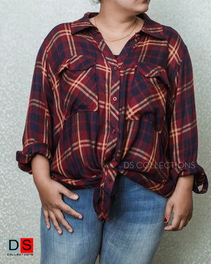 Women's Shirt - Plus Size Checkered Shirt | DS Collections Nepal