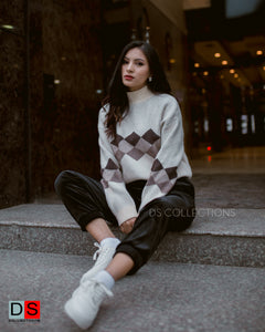 Diamond Print High Neck Sweater