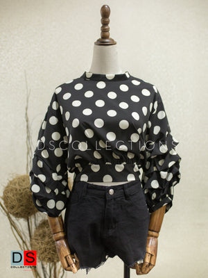 Women's Top -  Polka Dot Balloon Sleeve Top | DS Collections Nepal