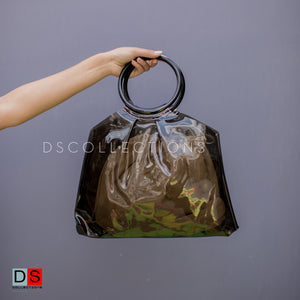 Clear Wooden Round Handle Bag