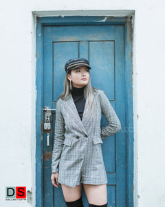 Women's Coat - Tartan Printed Coat Inspired Romper | DS Collections Nepal