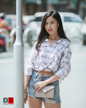 Square Shape Long Check Shirt