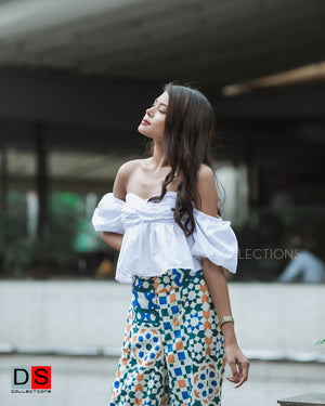 Strapless Tube Top With Ruffle Sleeve