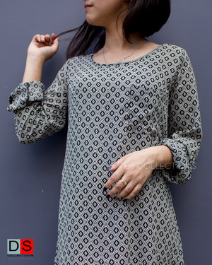 Women's Dress - Full Sleeve Printed Dress | DS Collections Nepal