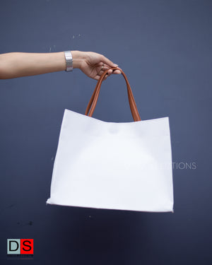 Faux Leather Handle Paper Bag