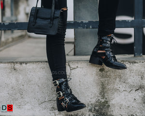 Leather Buckle Detail Ankle Boot