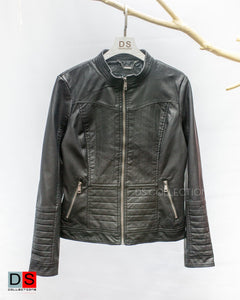 Leather Jacket With Round Neck