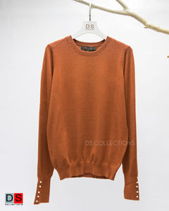 Plus Size Basic Sweater With Botton At Sleeve