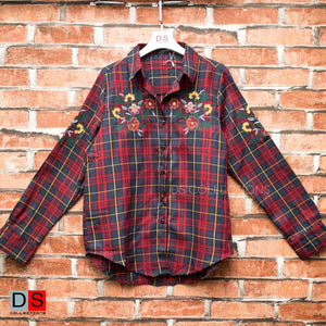 Embroidered Full Sleeve Checkered Shirt