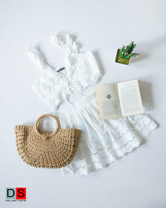Eyelet Crop Top And Skirt Set