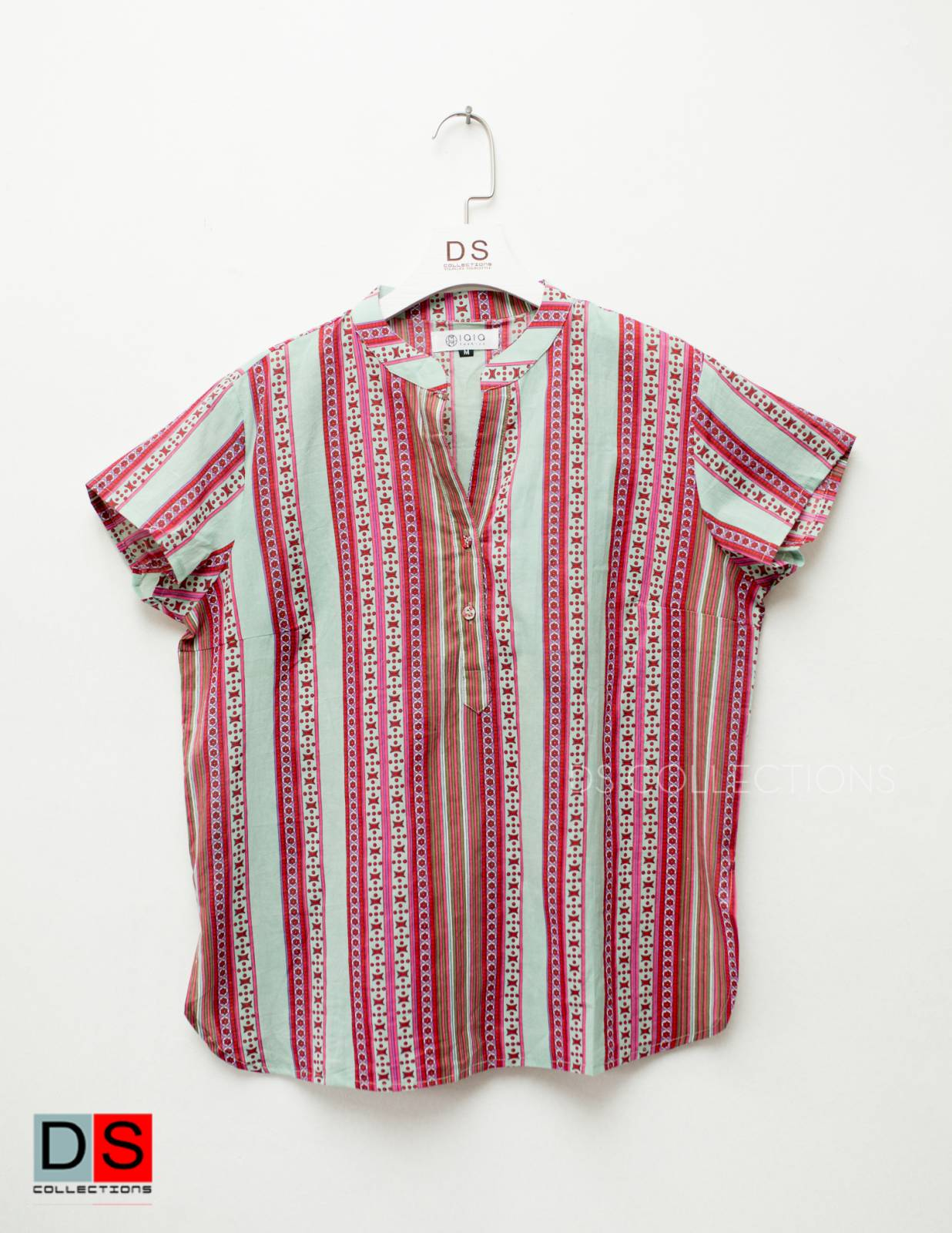 Half Button Printed Lining shirt