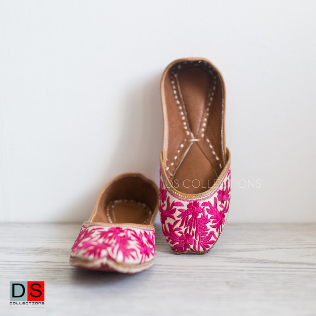 Pink Embroidered Jutis