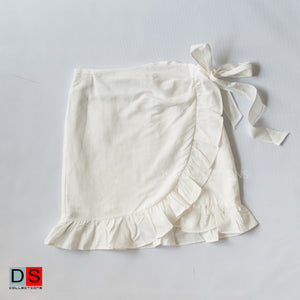 Wrapped Style Mini Skirt With Ruffle