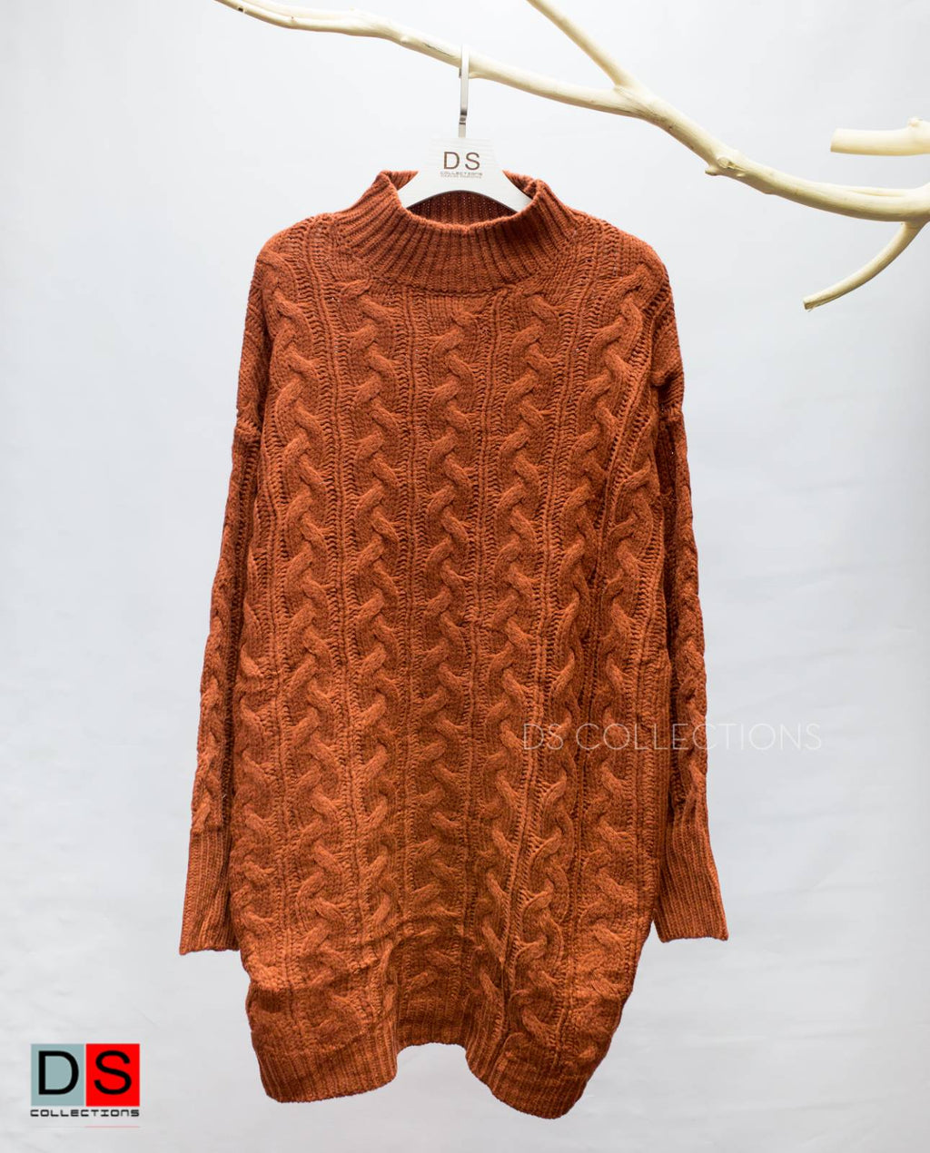 Braided Turtle Neck Oversized Long Sweater