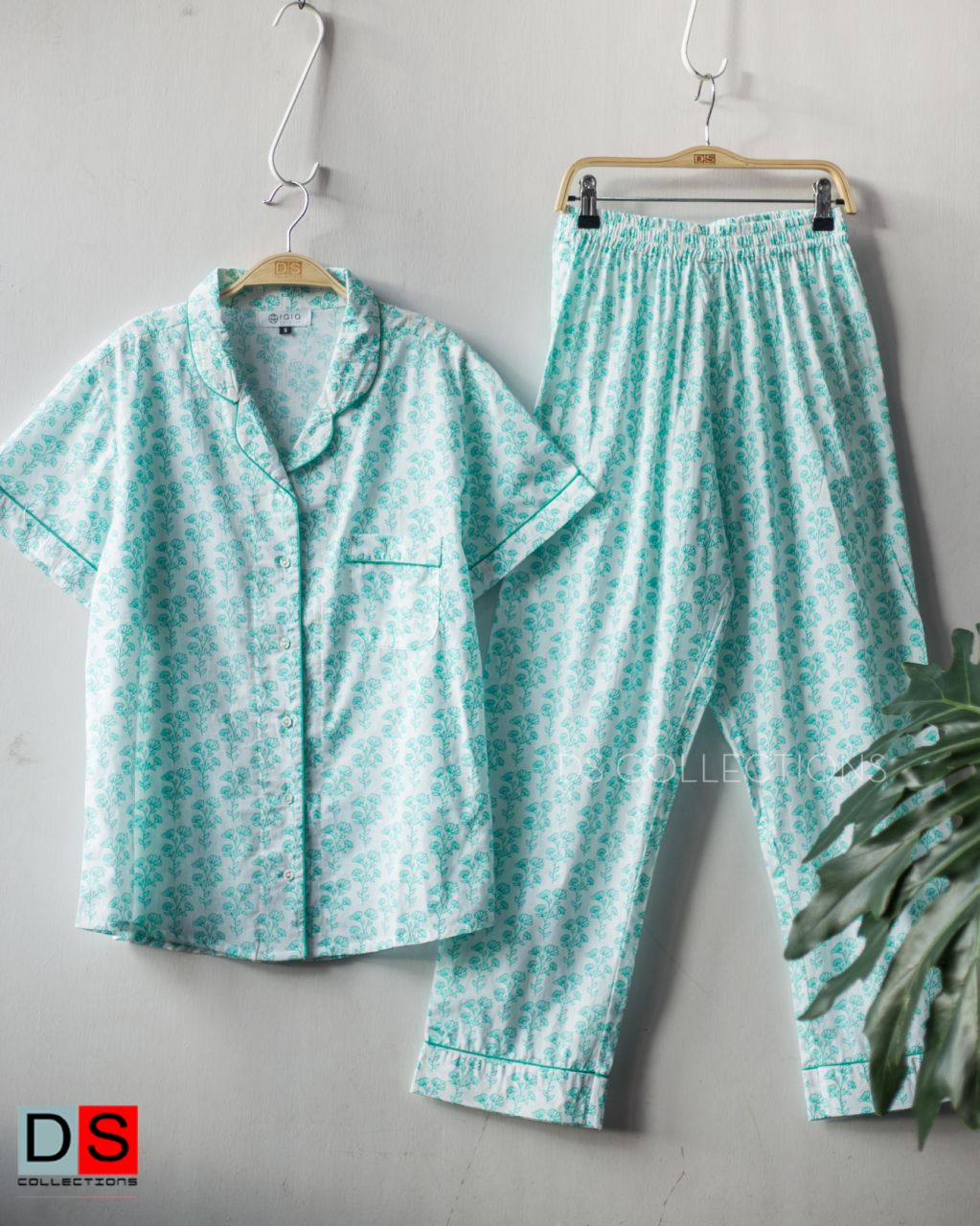 Block Print Half Sleeve Shirt And Pants Pajama Set