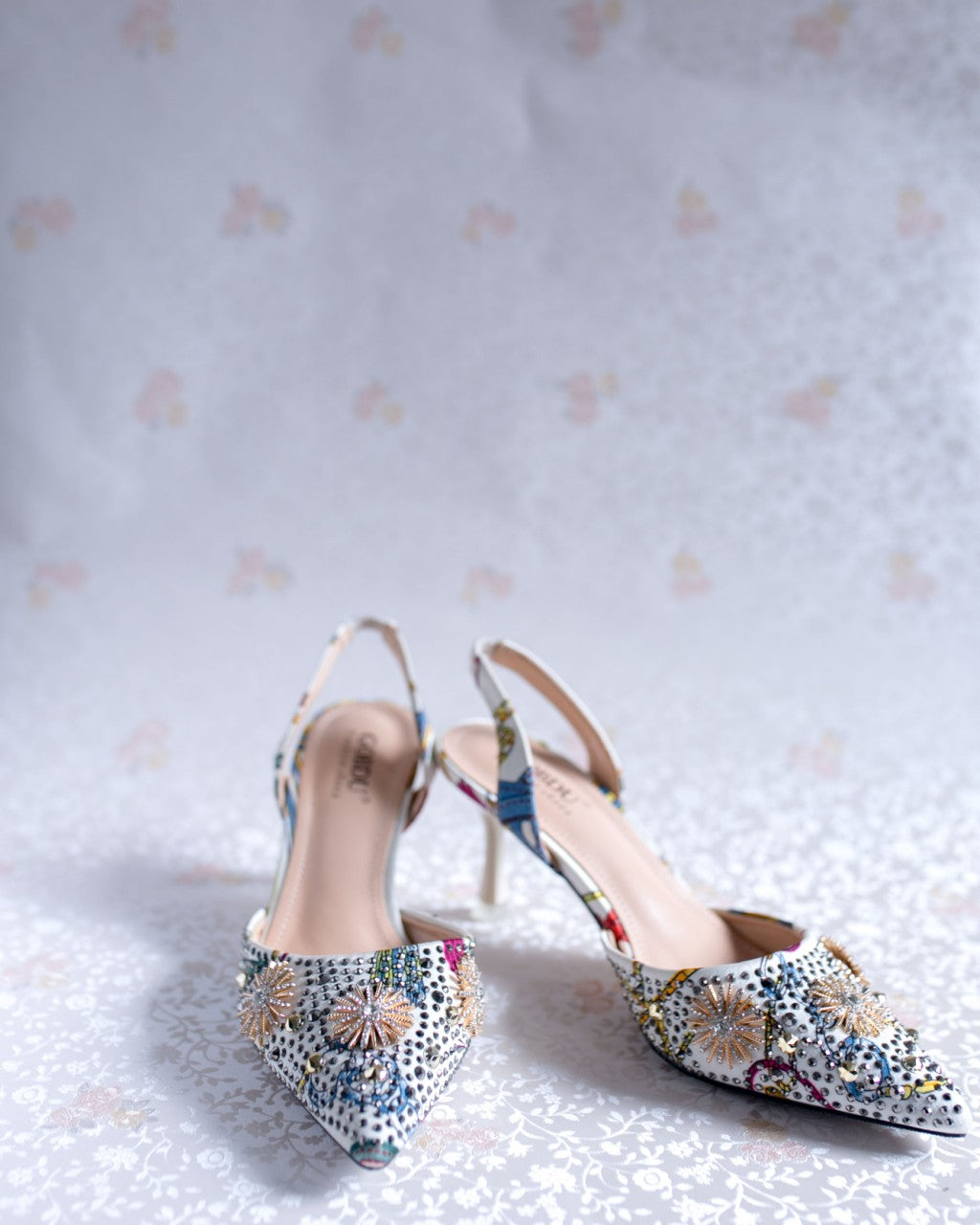 Colorful Print Glitter Low Heel