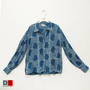 Dabu Print Full Sleeve Indigo Shirt