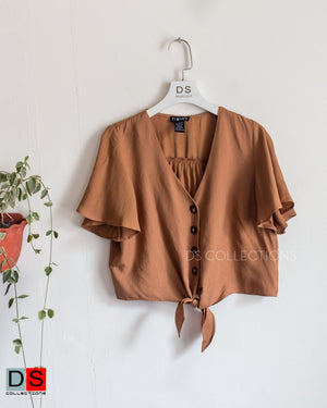 Self Tie  Button Down Crop Top