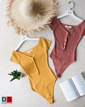 Plain Bodysuit With Button At Front