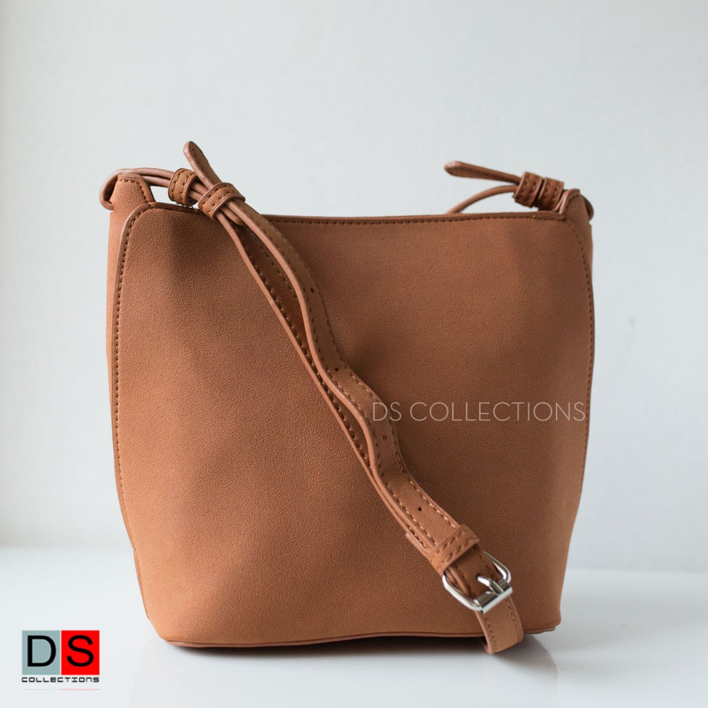 Suede Leather Type Side Sling Bag