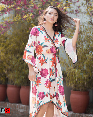DS Collection Women  Wrap Design Floral Dress Nepal