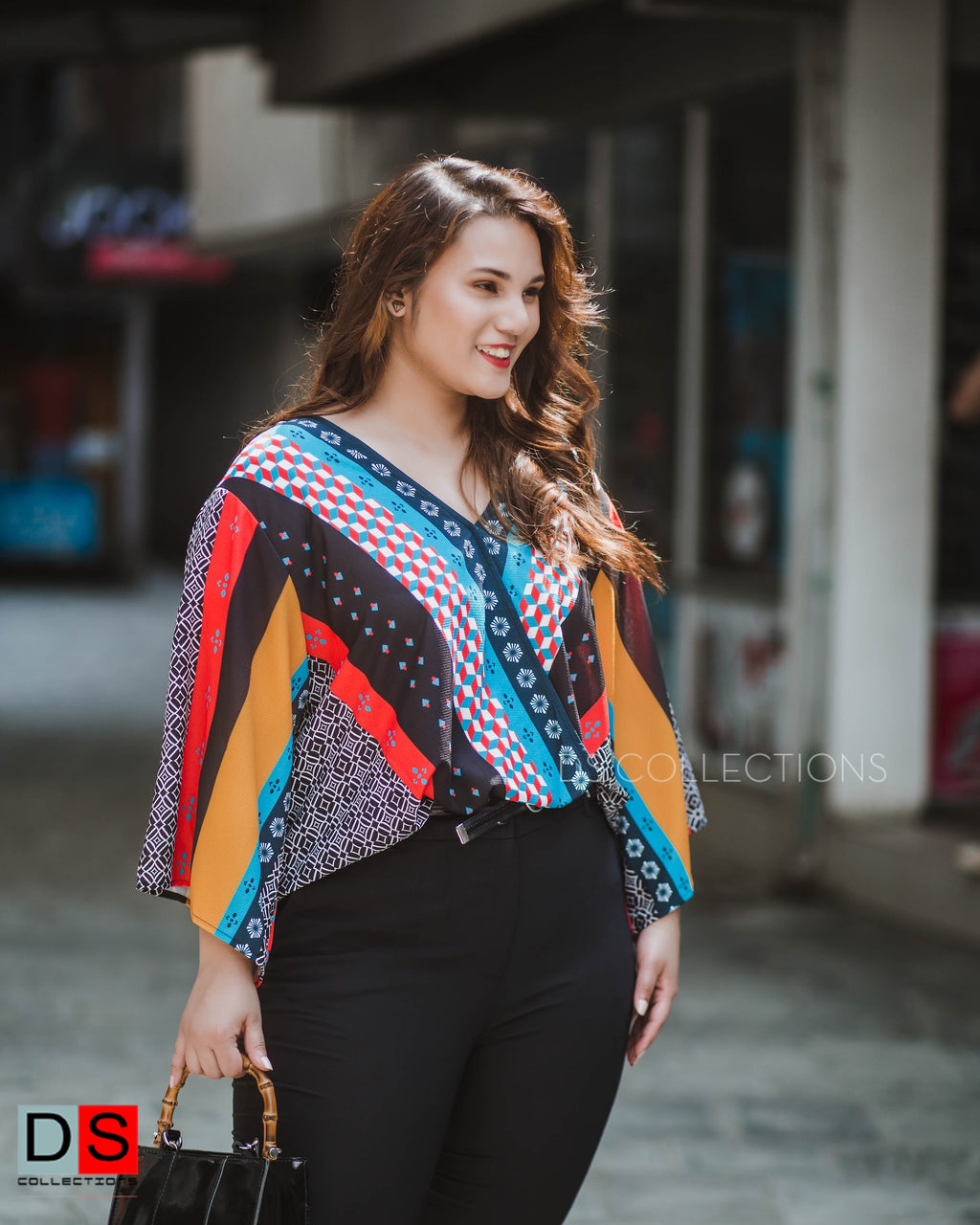 Women's Top - Plus Size Surplice Top With Mosaic Print