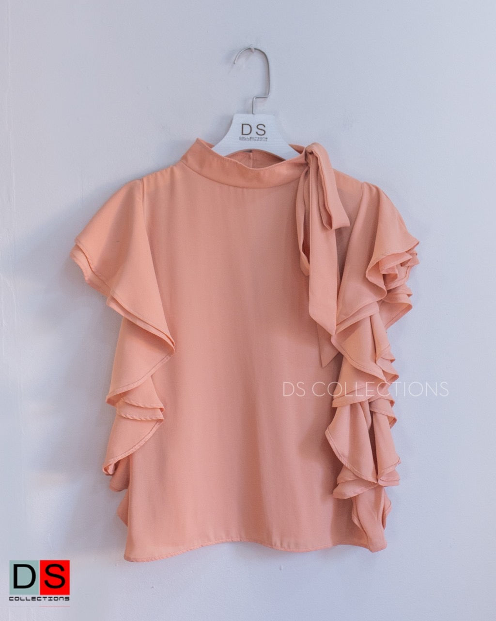 Tie-neck Top With Ruffle Half Sleeve