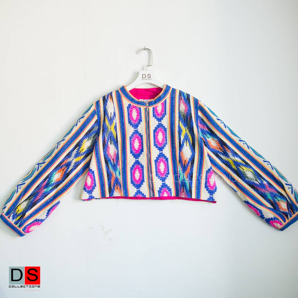 Colourful Print Long Sleeves Crop Top