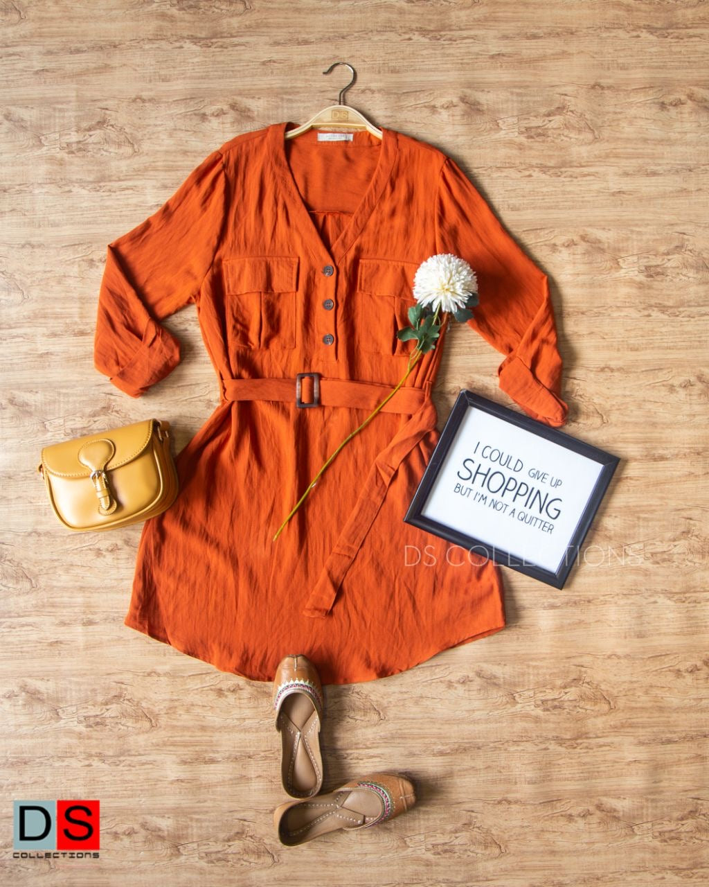 Half Button Down Mini Dress With Belt