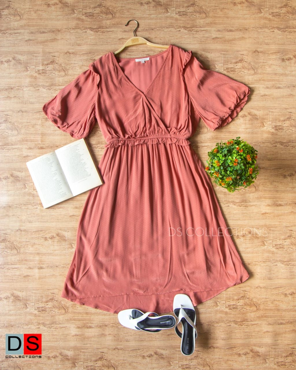 V-Neck Elastic Waist Dress