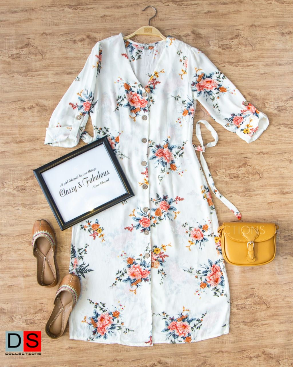 Floral Printed Button Down Midi Dress
