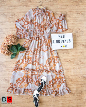 H-Neck Floral Ruffle Dress