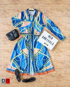 Chain Printed Shirt Dress With Belt