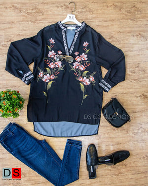 High Low Floral Printed Long Top