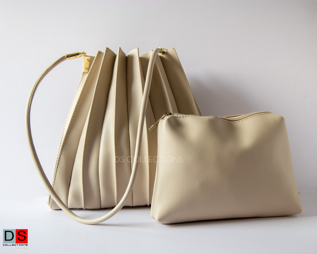Pleated Leather Tote