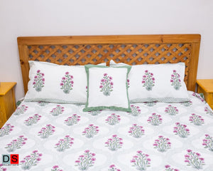 "Hand Block Printed Cotton Bed Sheet ""Queen Size"""