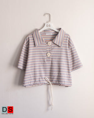Crop Striped Polo Top