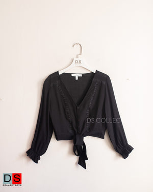 Crop V-Neck Blouse With Tie-Front