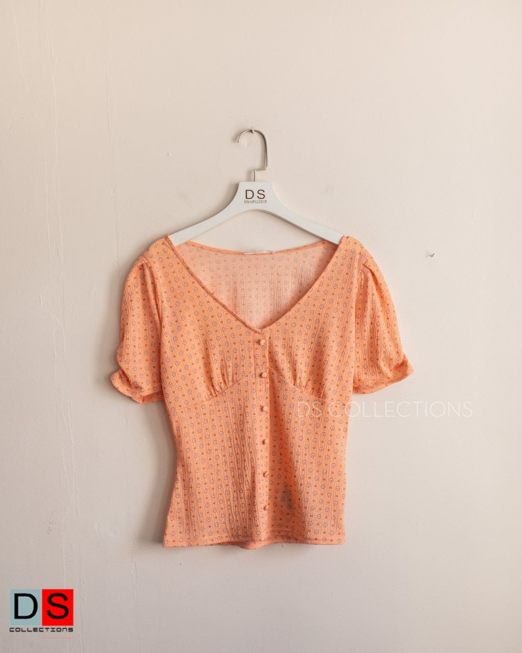 Puff Dot Button Down Top