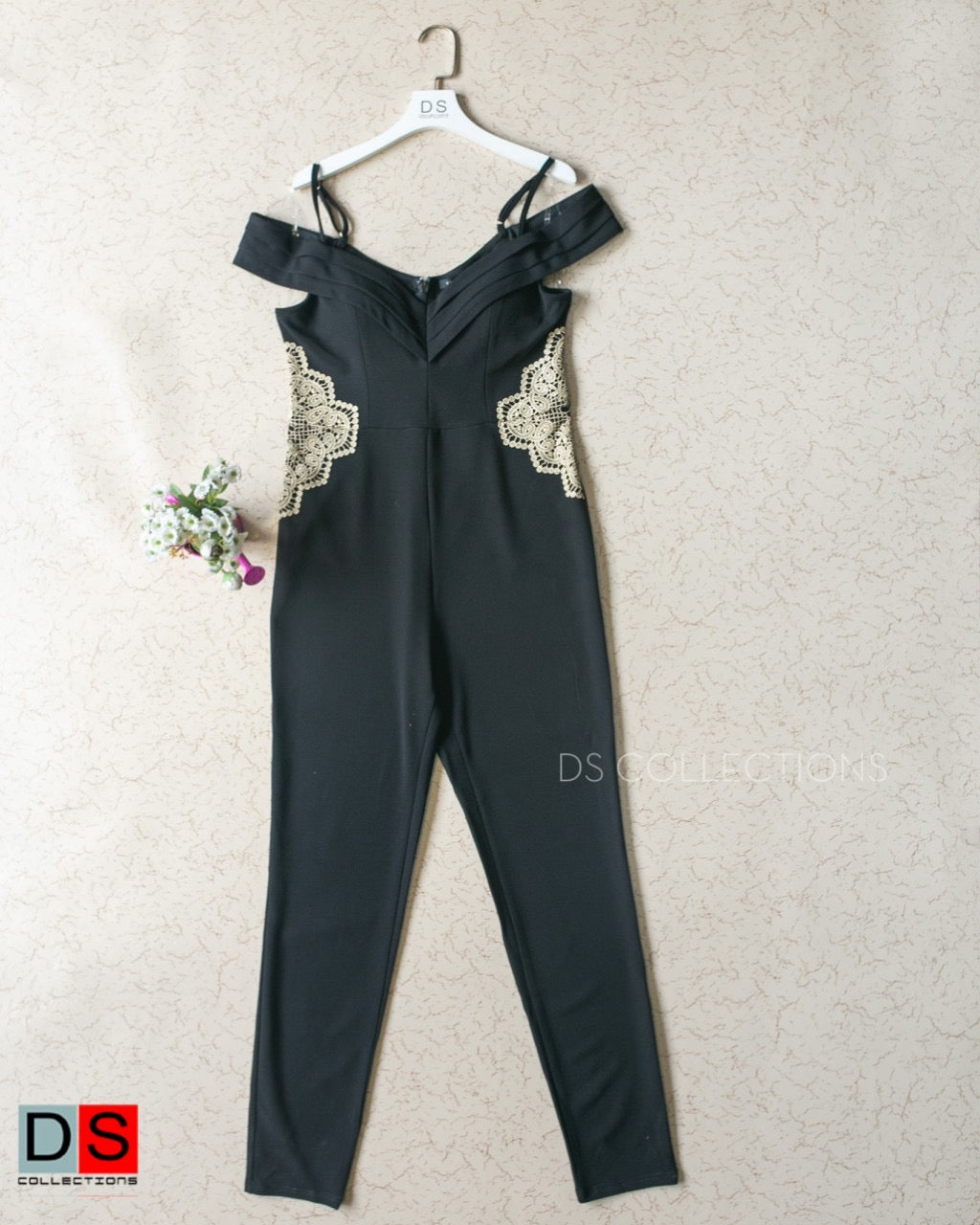 String Trim Detailed Off Shoulder Jumpsuit