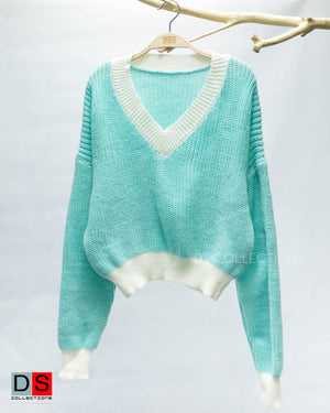 V-Neck Knitted Sweater Top