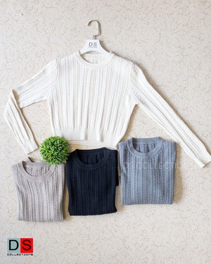 Crop Pleated Detailed Sweater Top