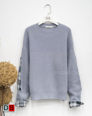 Checked Sleeve Attached Sweater