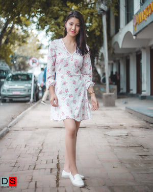 Women's Dress -  Floral Printed Wrap Dress | DS Collections Nepal